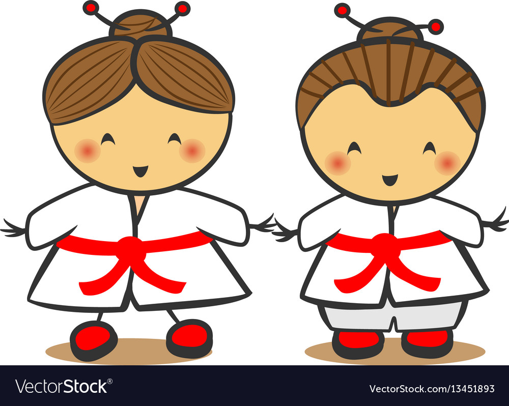 Japanese children in traditional costume kimono vector image