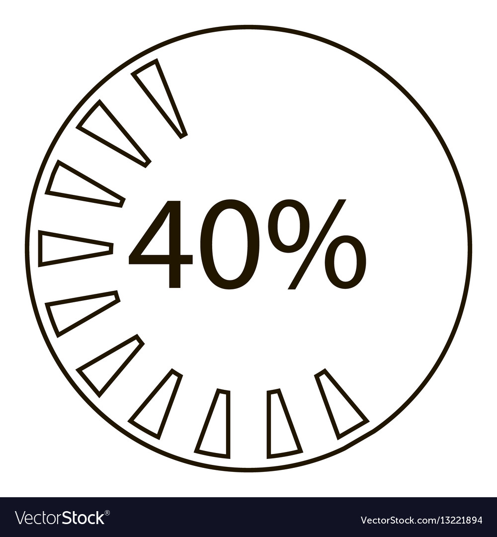 Forty percents infographics outline style vector image