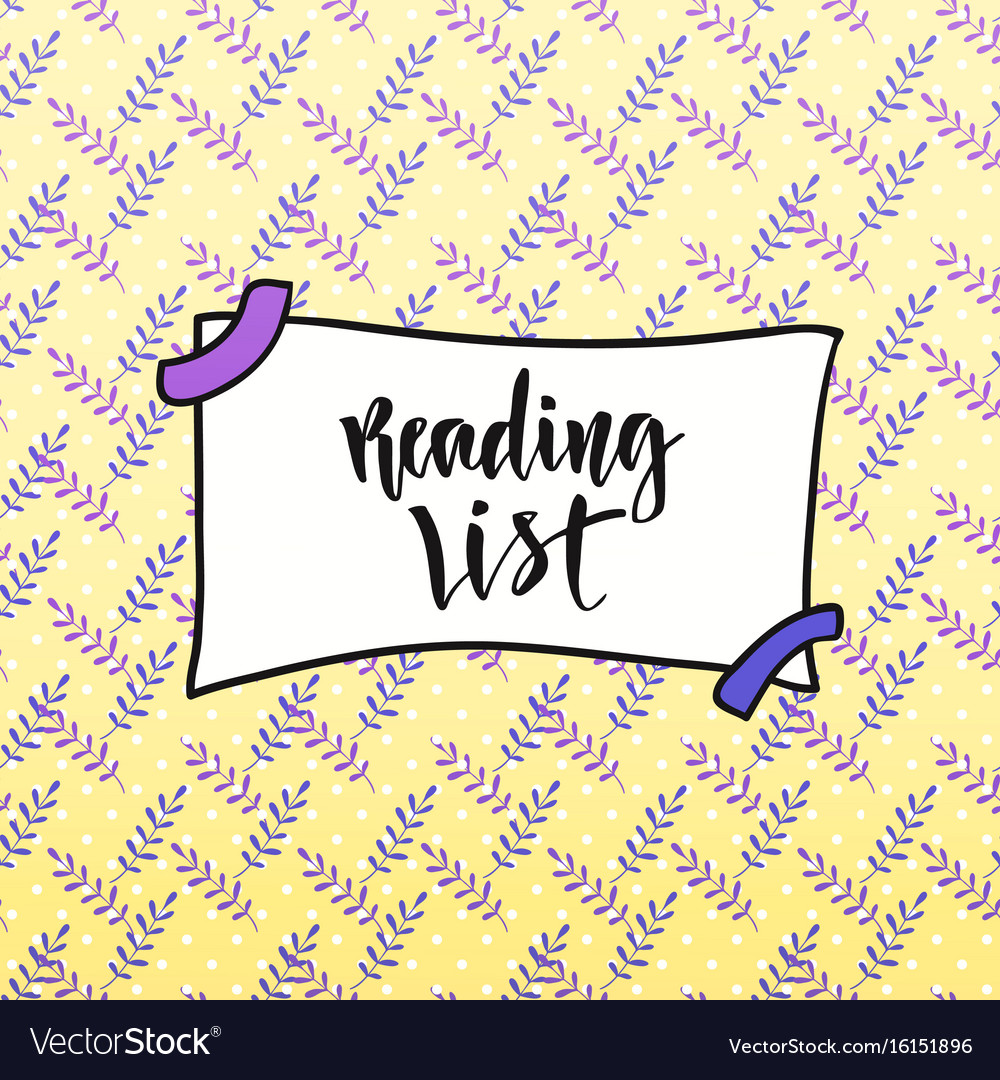 Calligraphic on creative backdrop reading list vector image