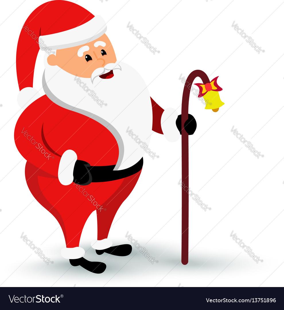 Christmas smiling santa claus character is coming vector image