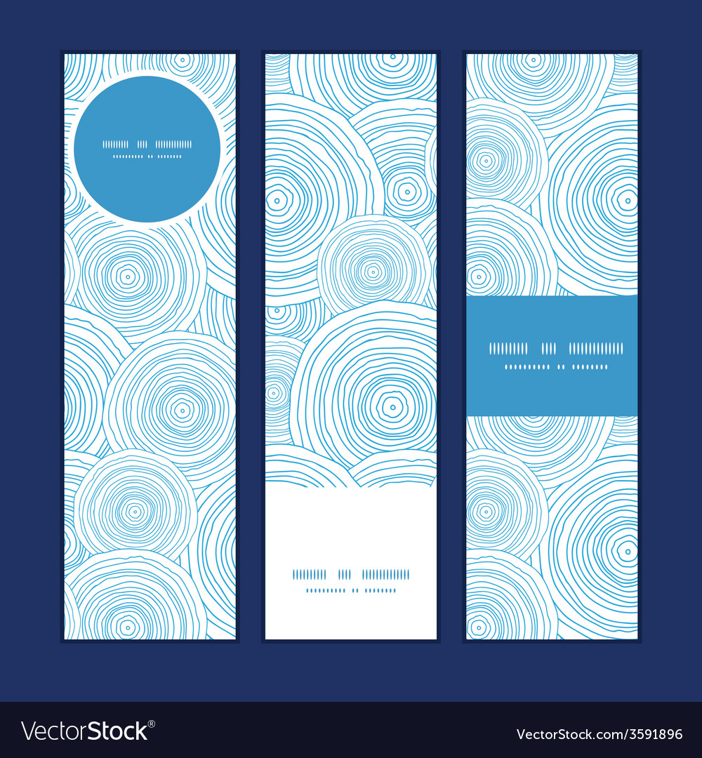 Doodle circle water texture vertical banners set vector image