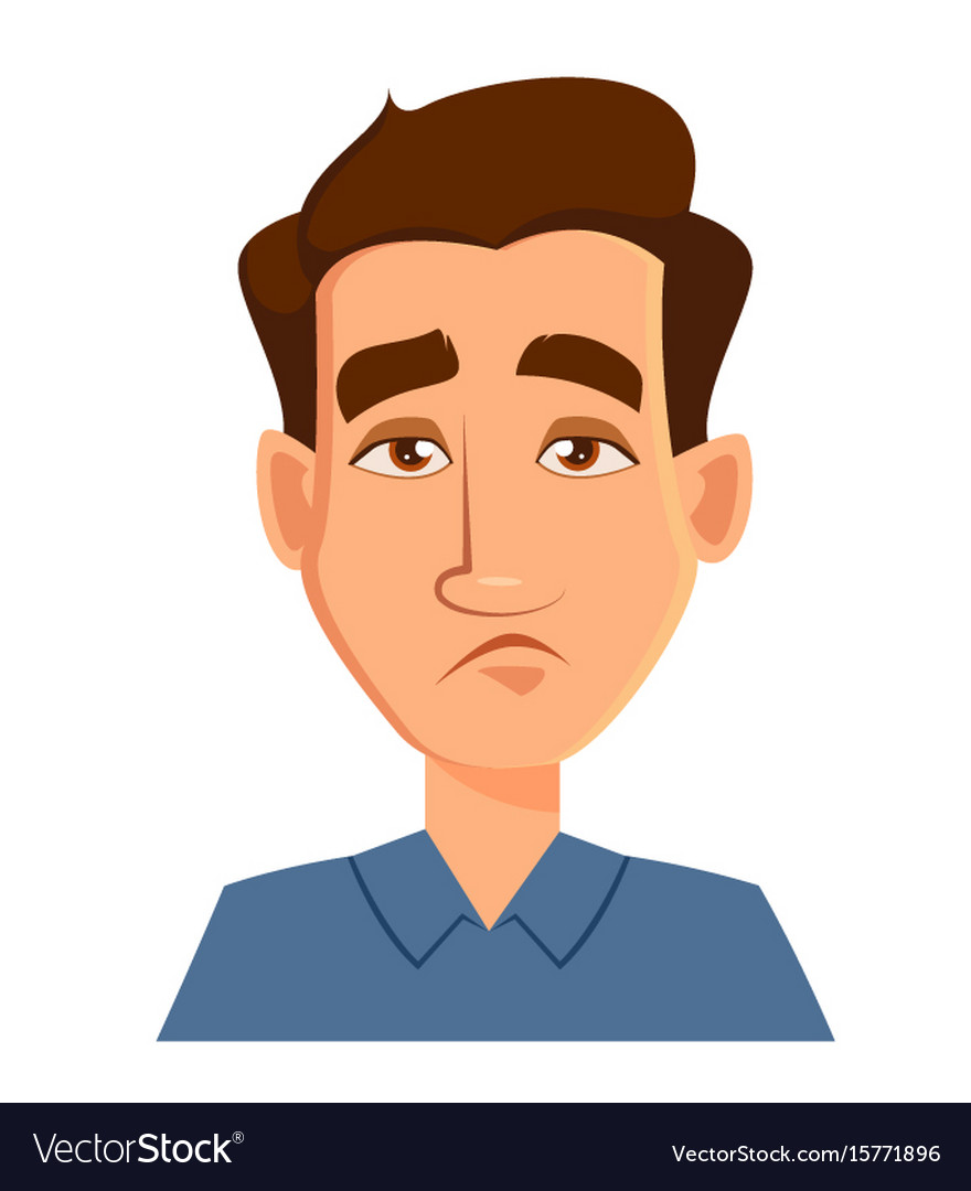 Face expression of a man - tired male emotions vector image