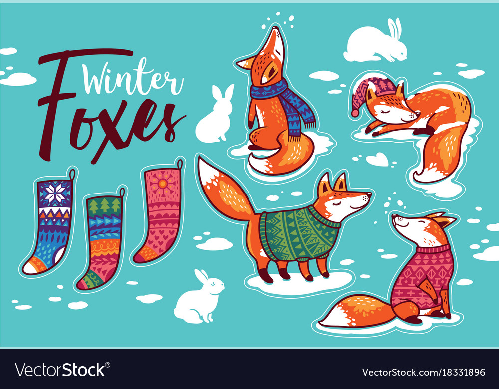 Stickers collection with cartoon foxes in cozy vector image
