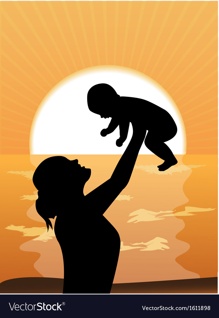 Mother and child at sunset vector image
