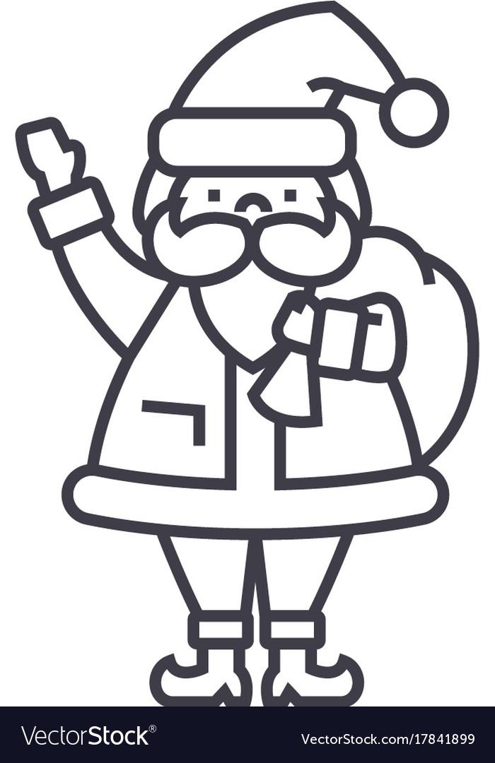 Santa claus line icon sign vector image