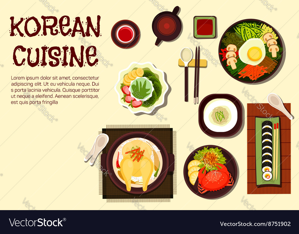 Korean refreshing summer dishes flat icon vector image