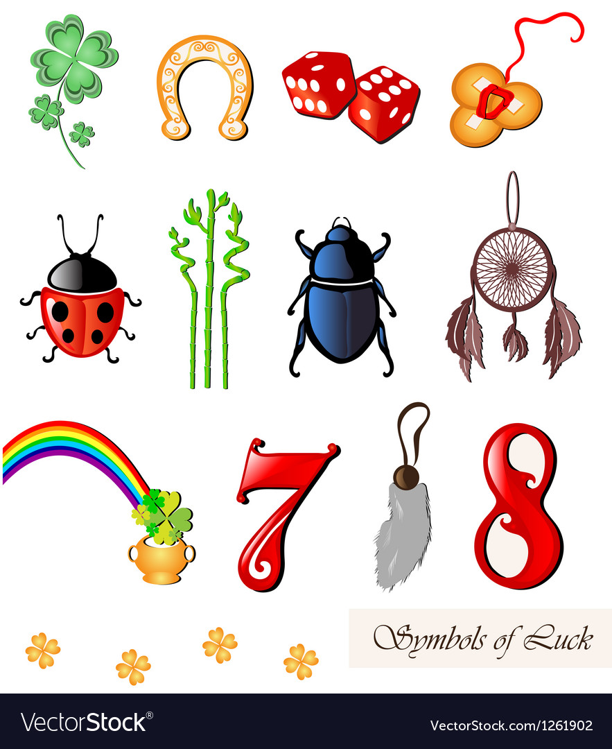 Set of lucky symbols royalty free vector image set of lucky symbols vector image buycottarizona