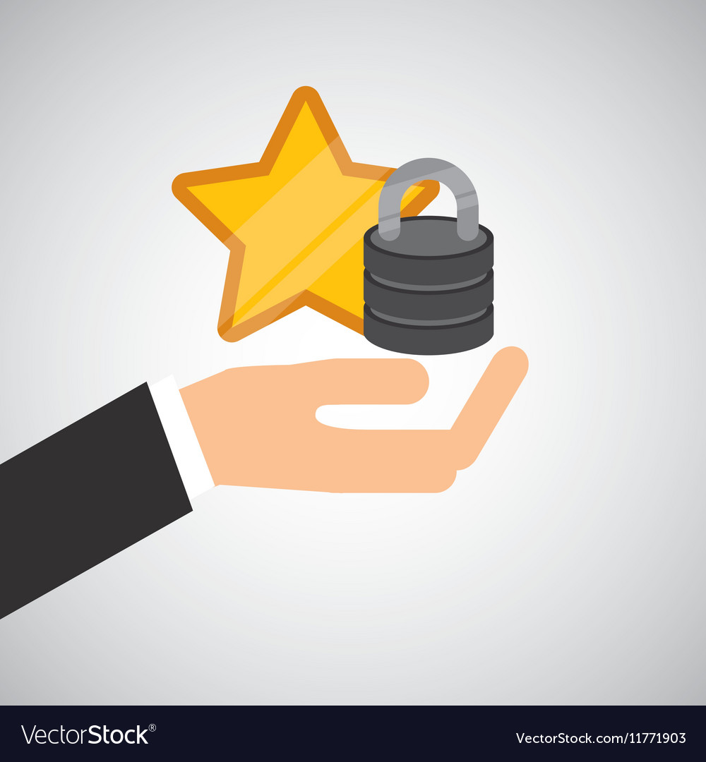 Hand hold protected concept data favorite vector image