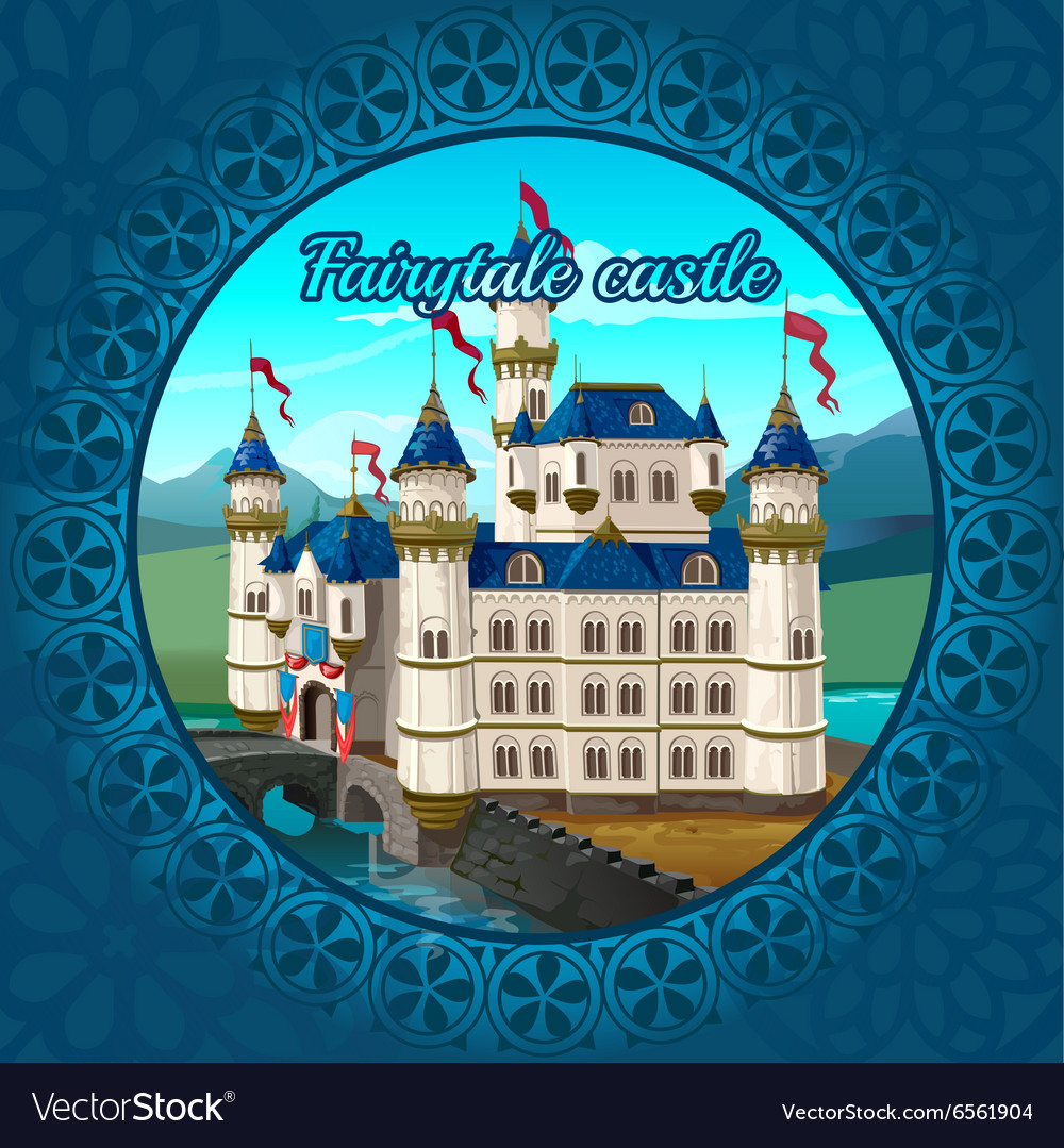 Fabulous medieval castle frame nature background vector image