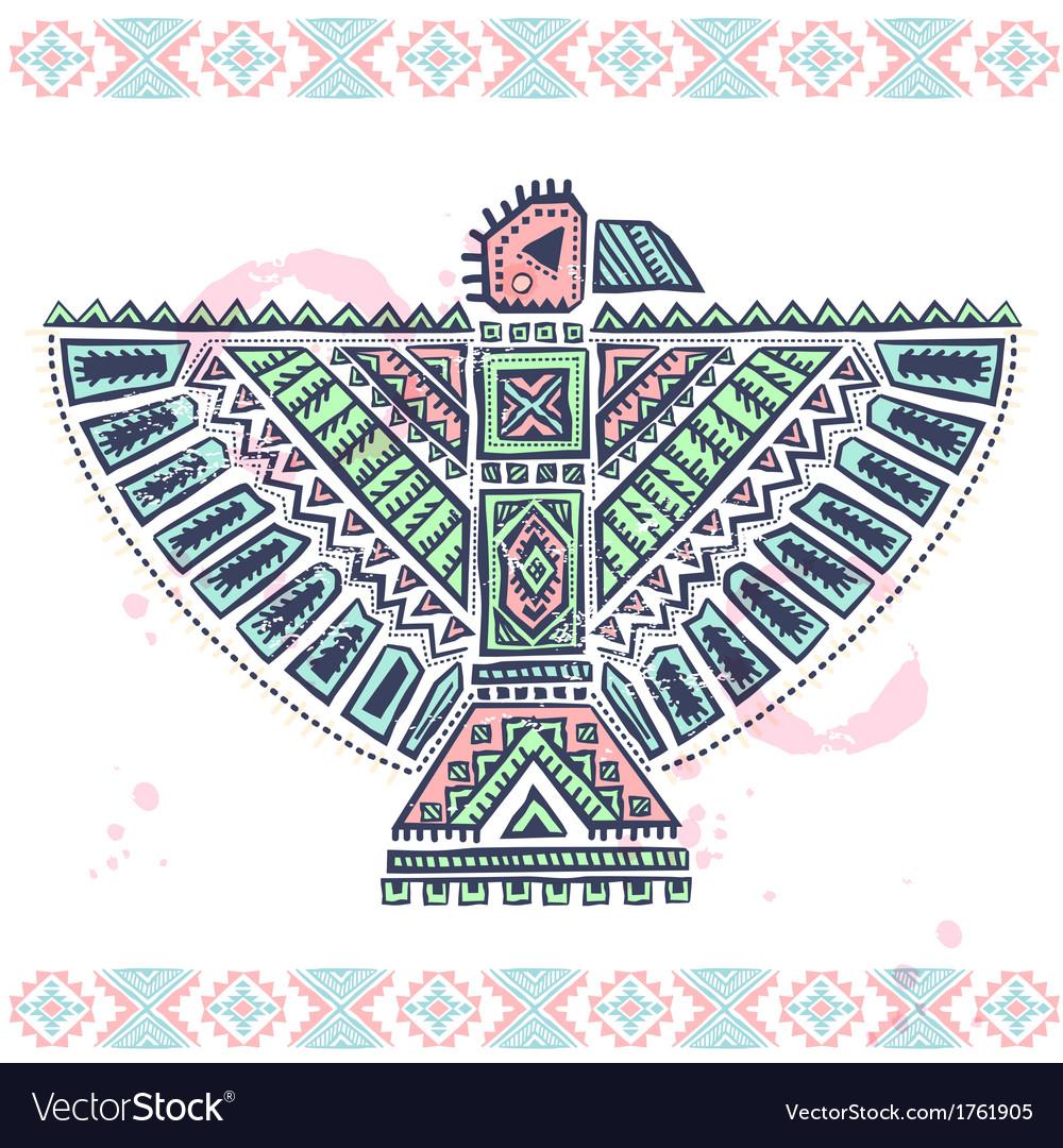Tribal native ethnic eagle vector image