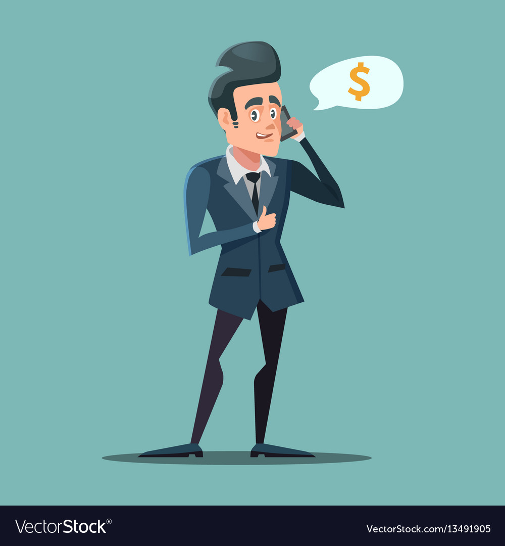 Businessman talking on the phone with thumb up vector image