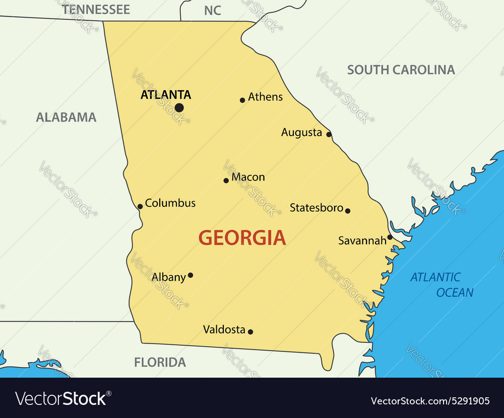 Georgia US State Map Royalty Free Vector Image - Us map georgia