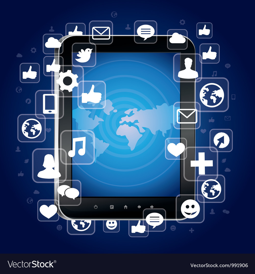 Tablet pc with bright social media icons Vector Image
