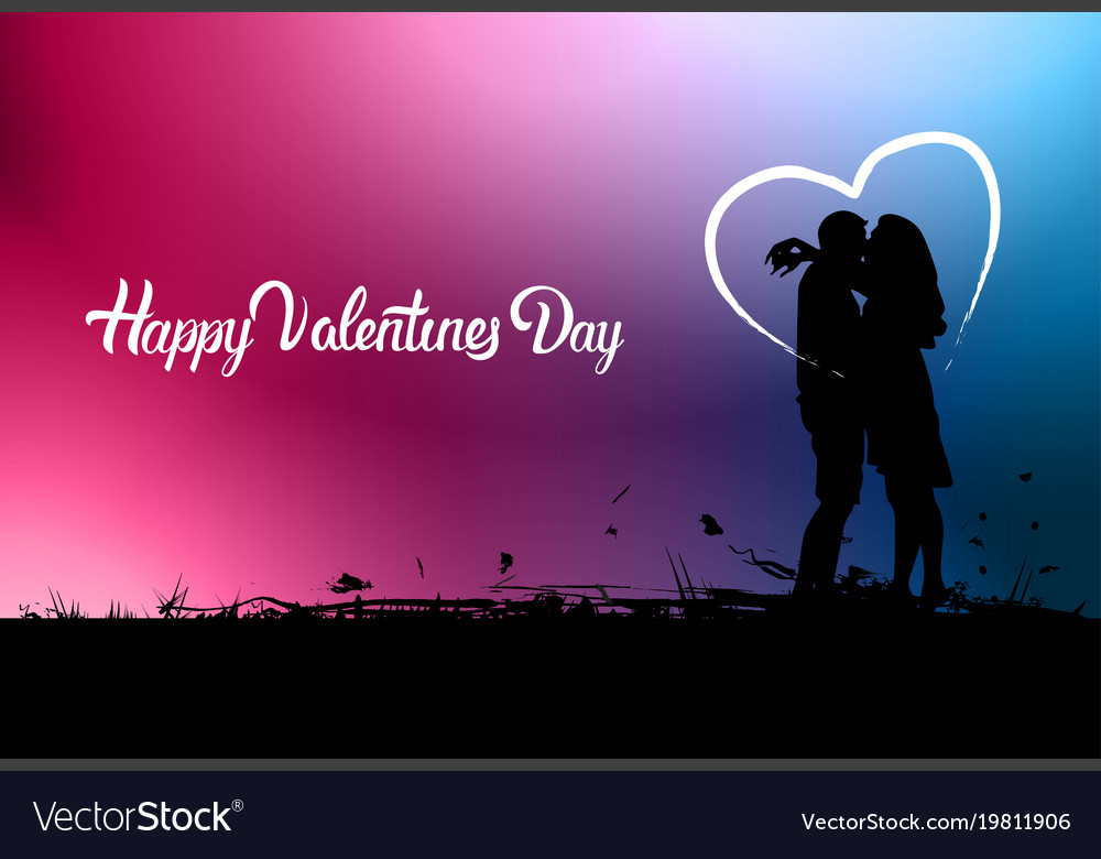 Happy valentine day background with black couple Vector Image