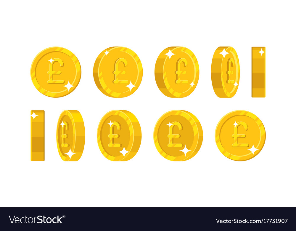 Gold pound views cartoon style isolated vector image