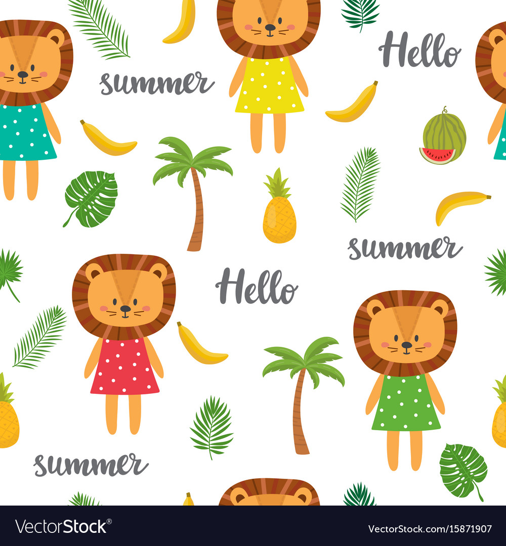Seamless pattern with cute cartoon little lion vector image
