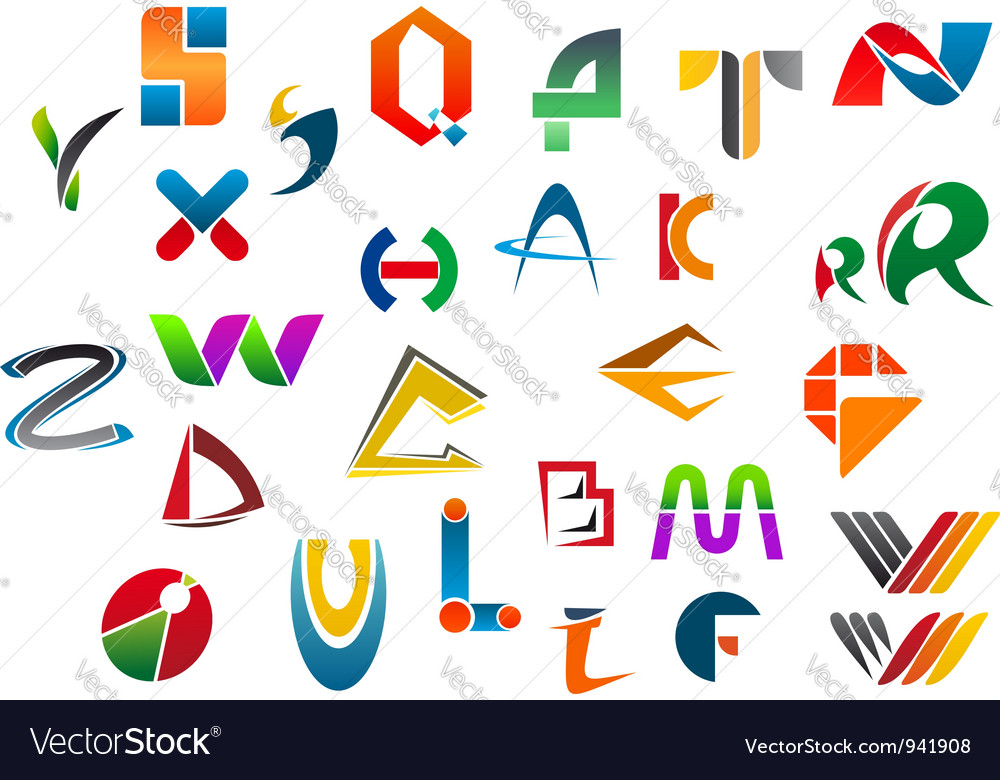 Set of alphabet symbols and icons Vector Image