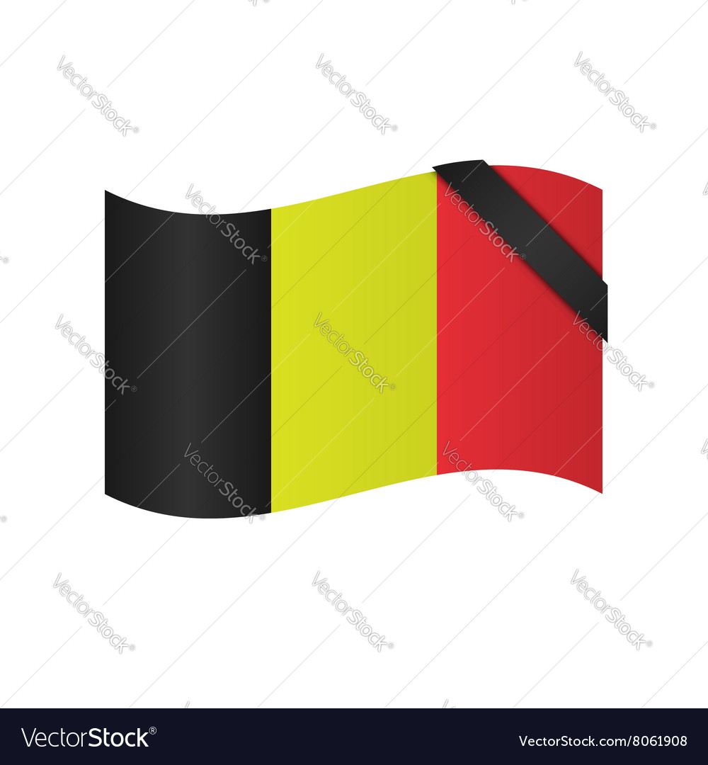 Belgian flag with blac ribbon vector image