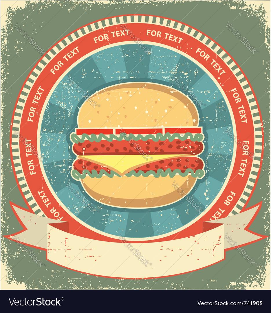Hamburger label vector image