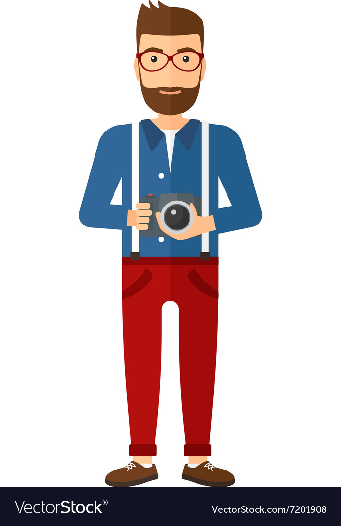 Smiling photographer holding camera vector image