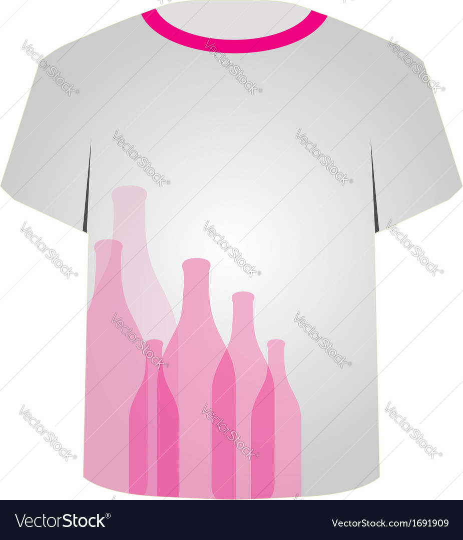 T Shirt Template- bottles vector image