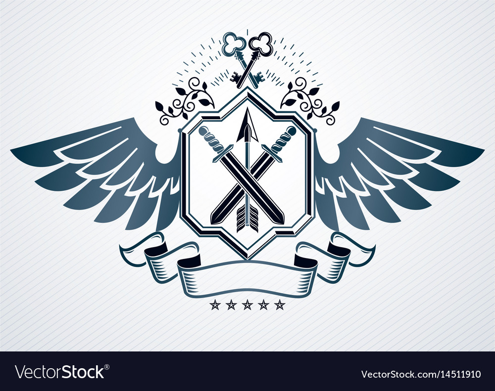 Old style heraldic emblem made with armory and vector image
