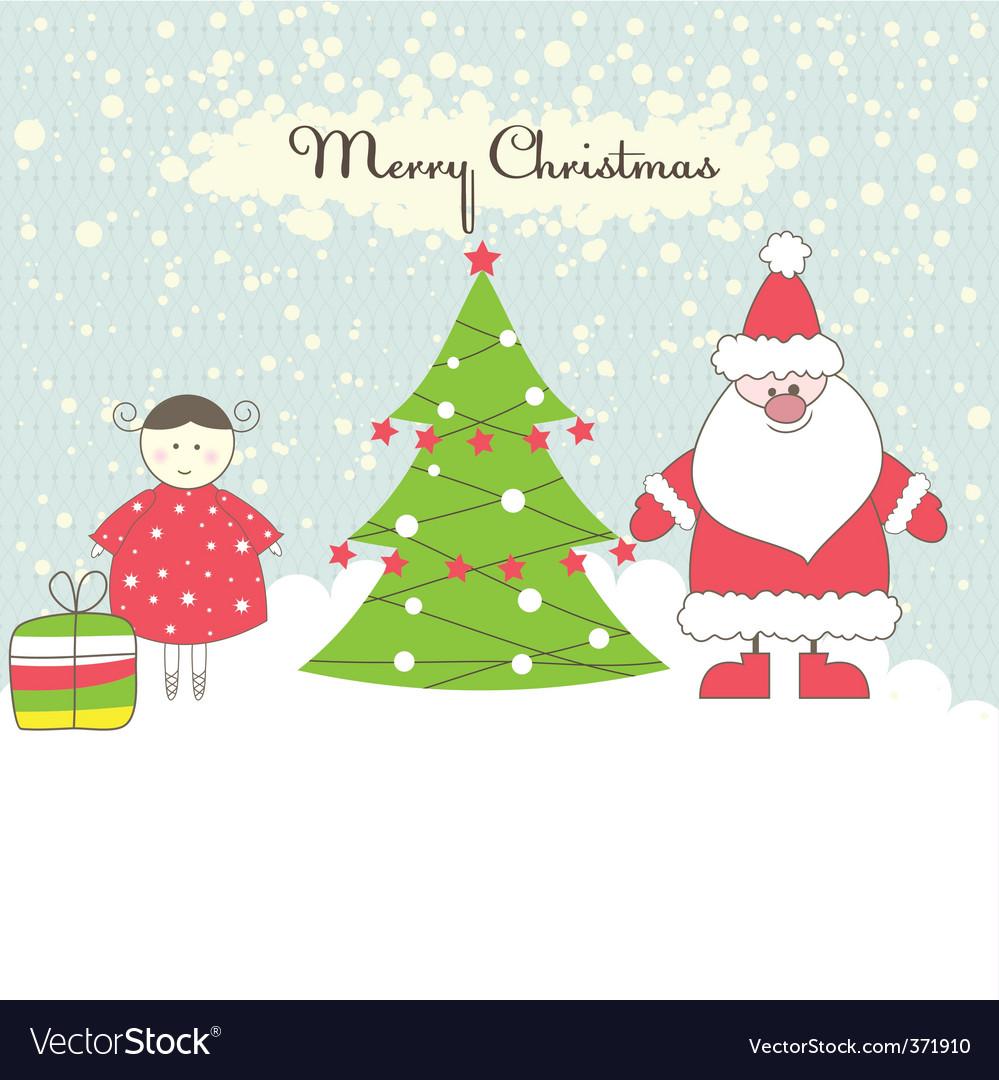 Santa and girl vector illustration vector image