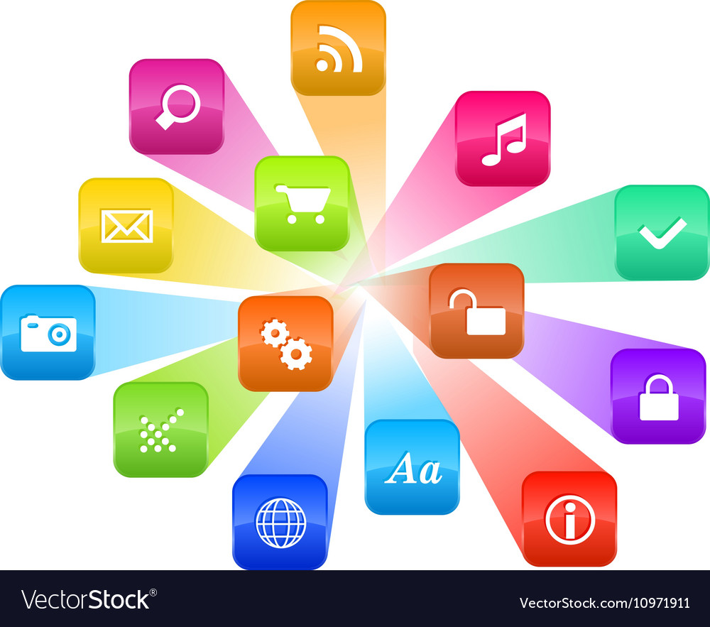 Software concept cloud of colorful program icons Vector image software