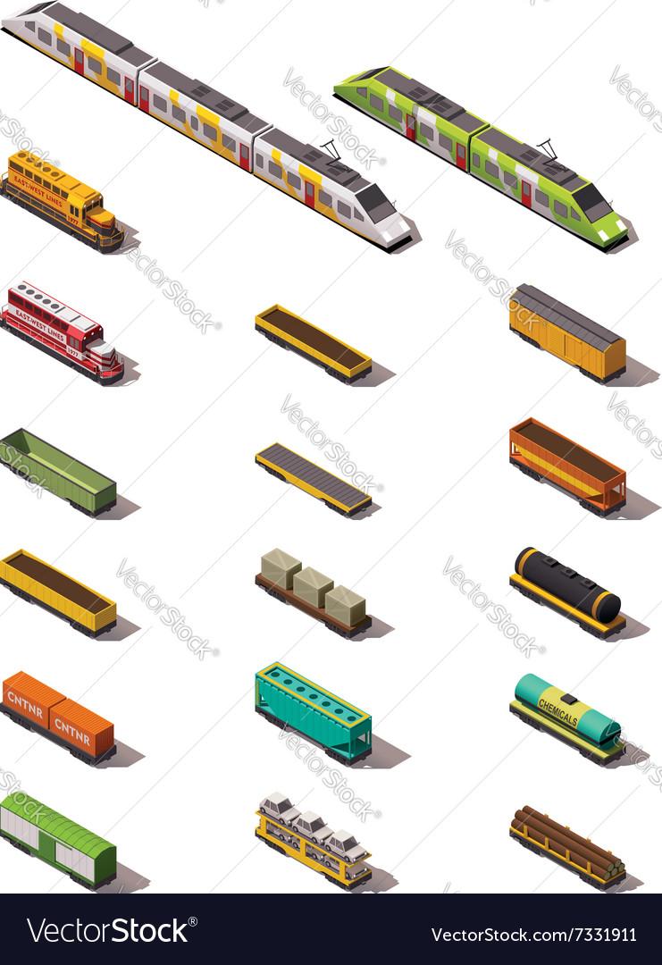 Isometric trains vector image