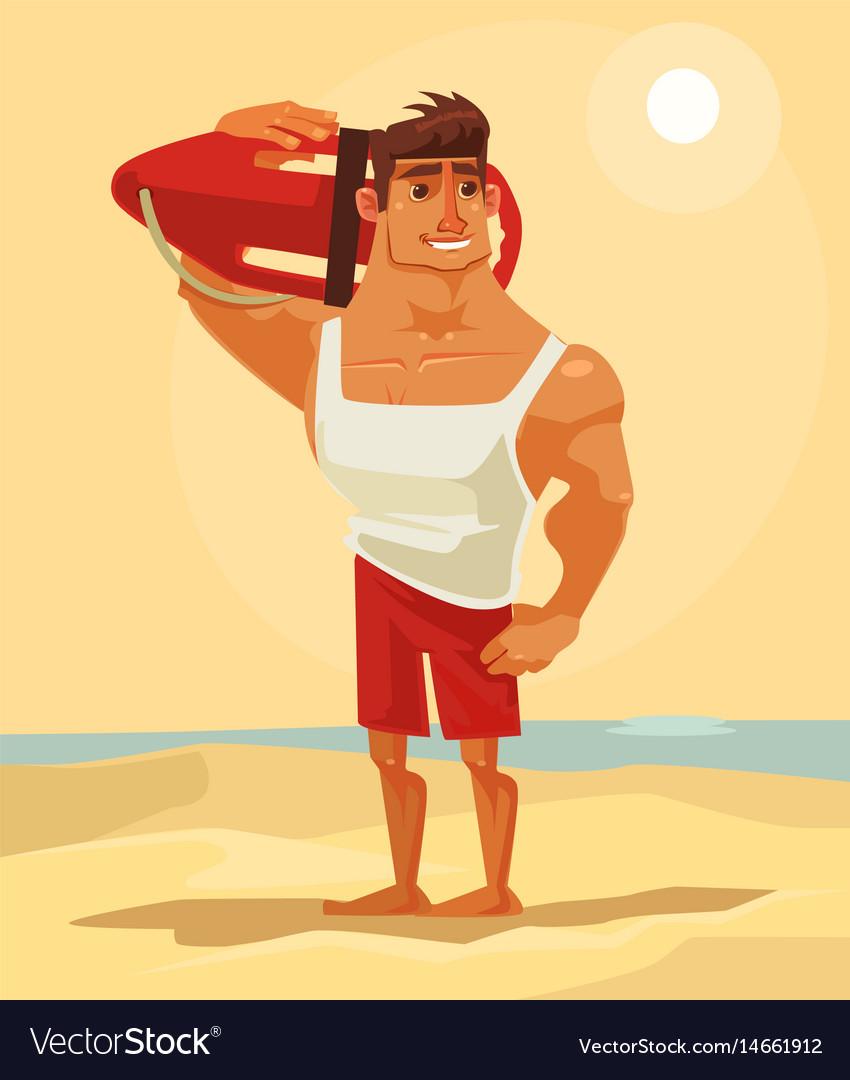 Happy smiling sea lifeguard man character mascot vector image
