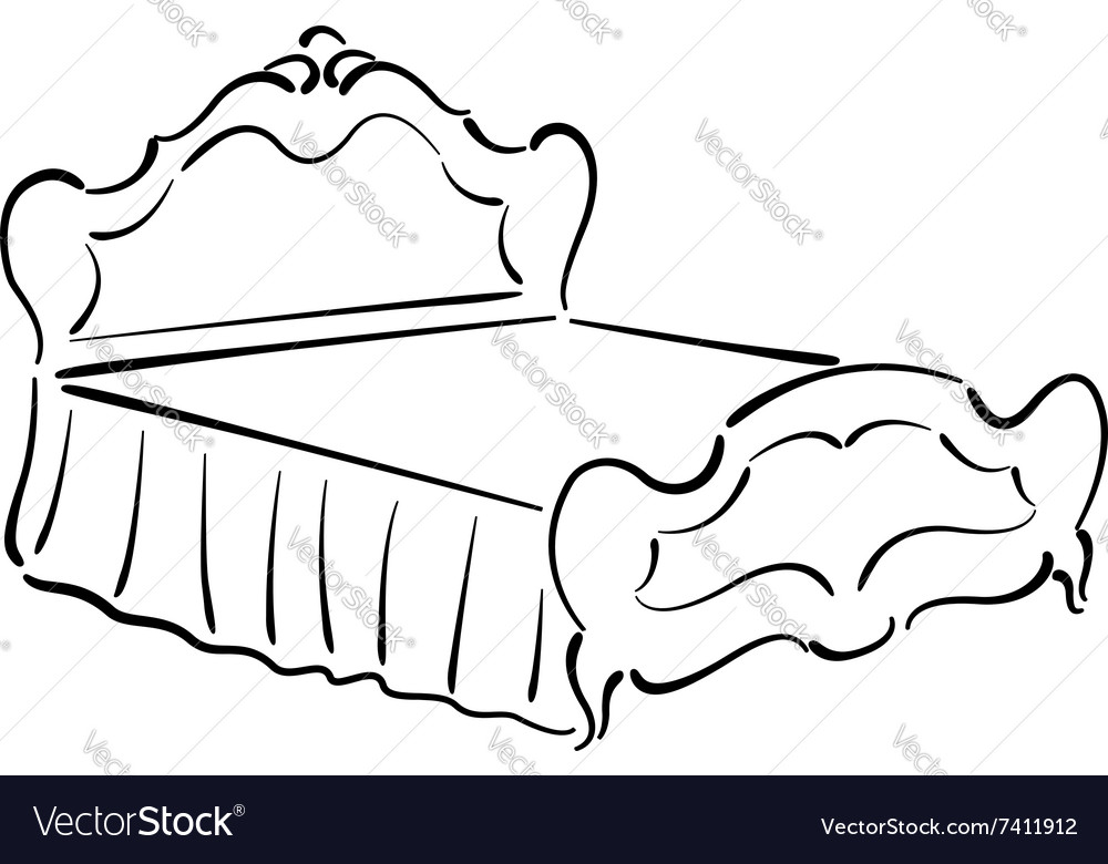 Sketch of an elegant vintage bed vector image