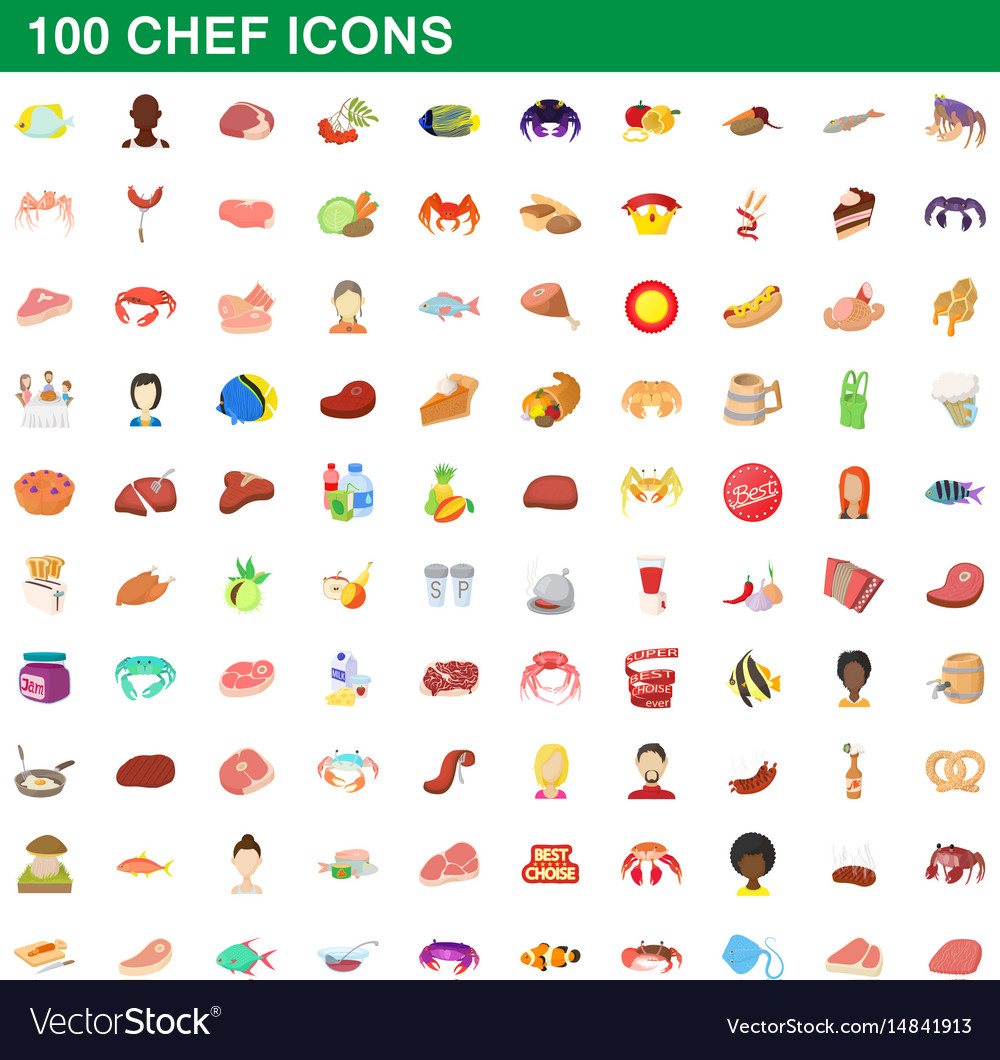 100 chef icons set cartoon style vector image