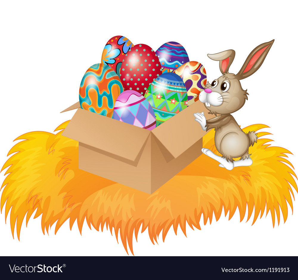 A bunny pushing a box full of easter eggs vector image