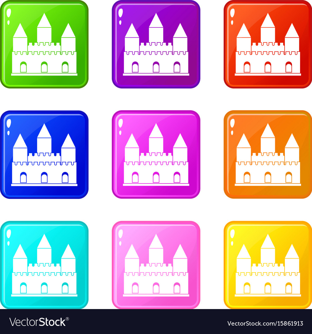Castle tower icons 9 set vector image