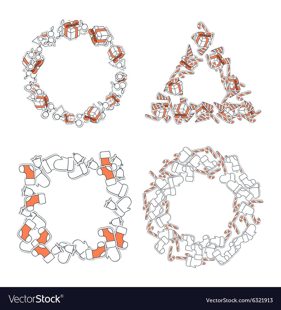 Set 4 Christmas framework from festive elements vector image