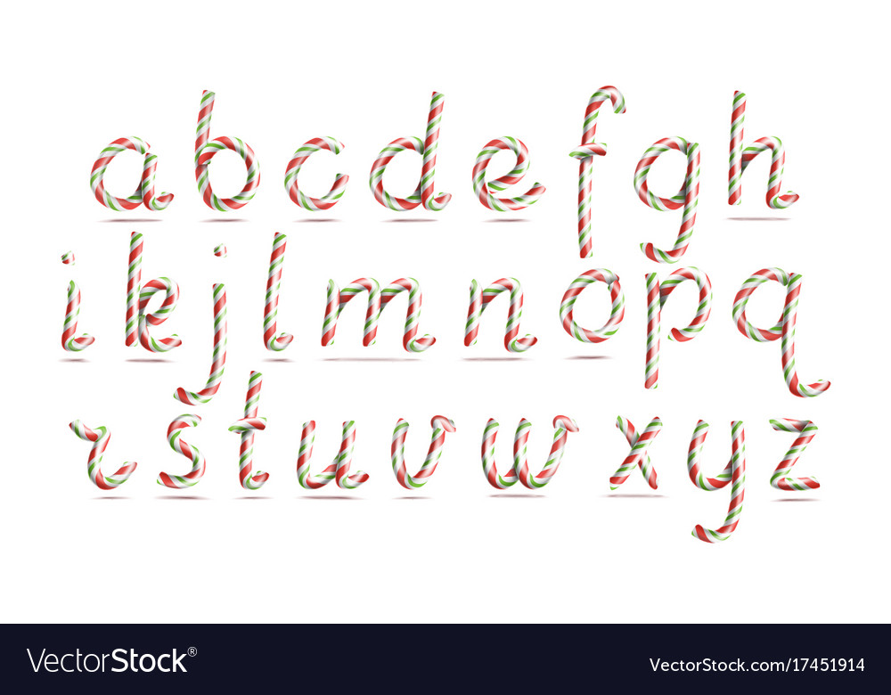 3d realistic candy cane alphabet symbol in vector image