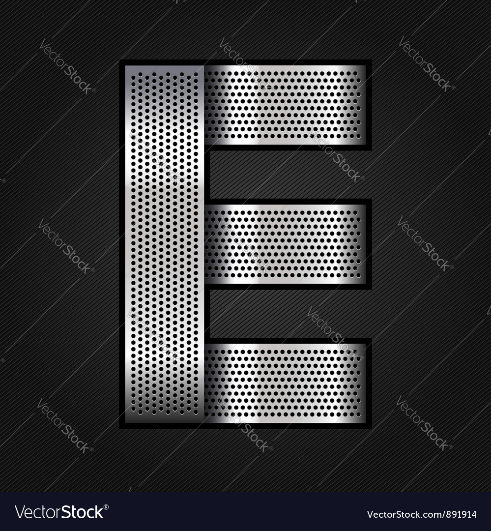 Letter metal chrome ribbon - E vector image