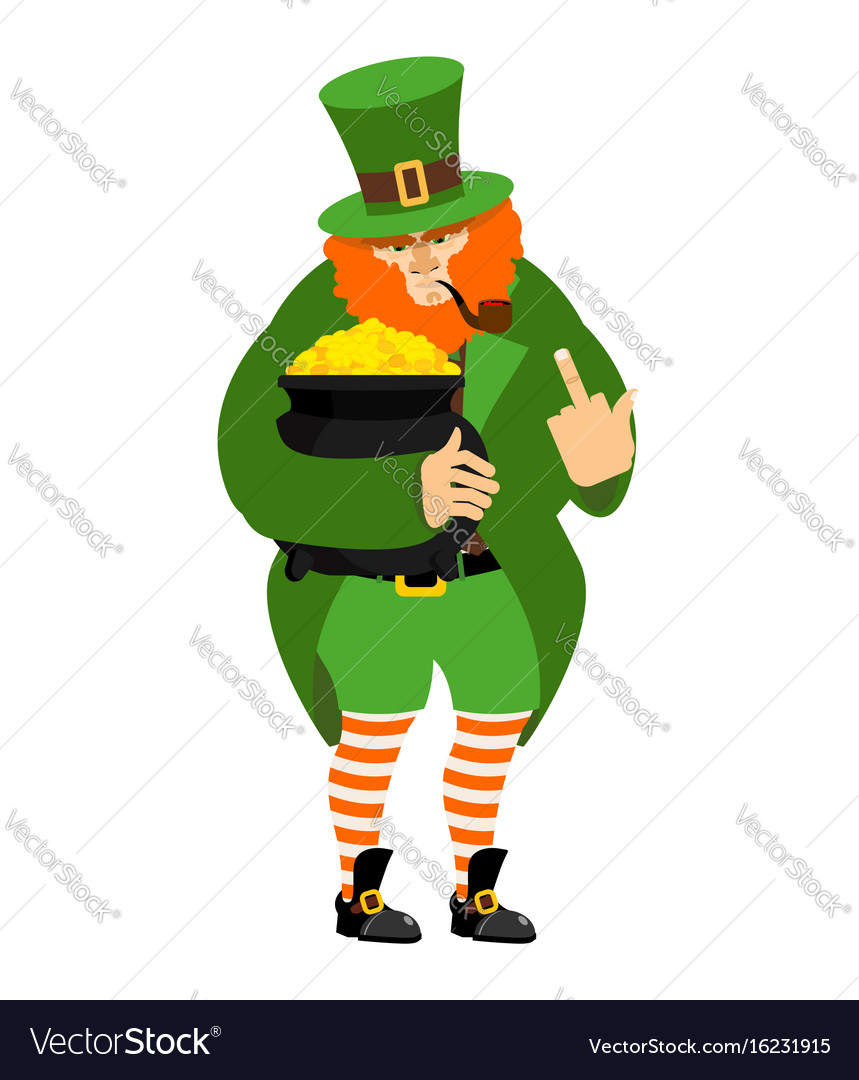 angry leprechaun and pot of gold dwarf in vector imageangry leprechaun and pot of gold dwarf in vector image