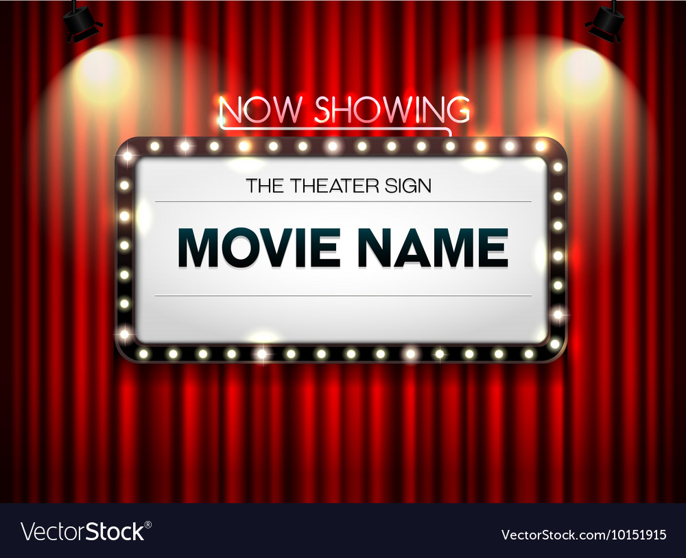theater sign showtime sign theater cinema sign vector image
