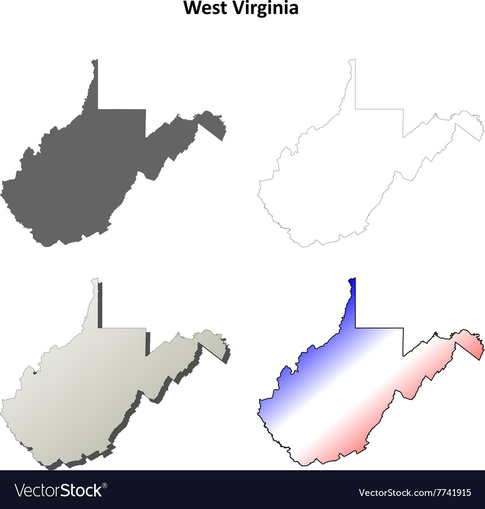 West Virginia outline map set Royalty Free Vector Image
