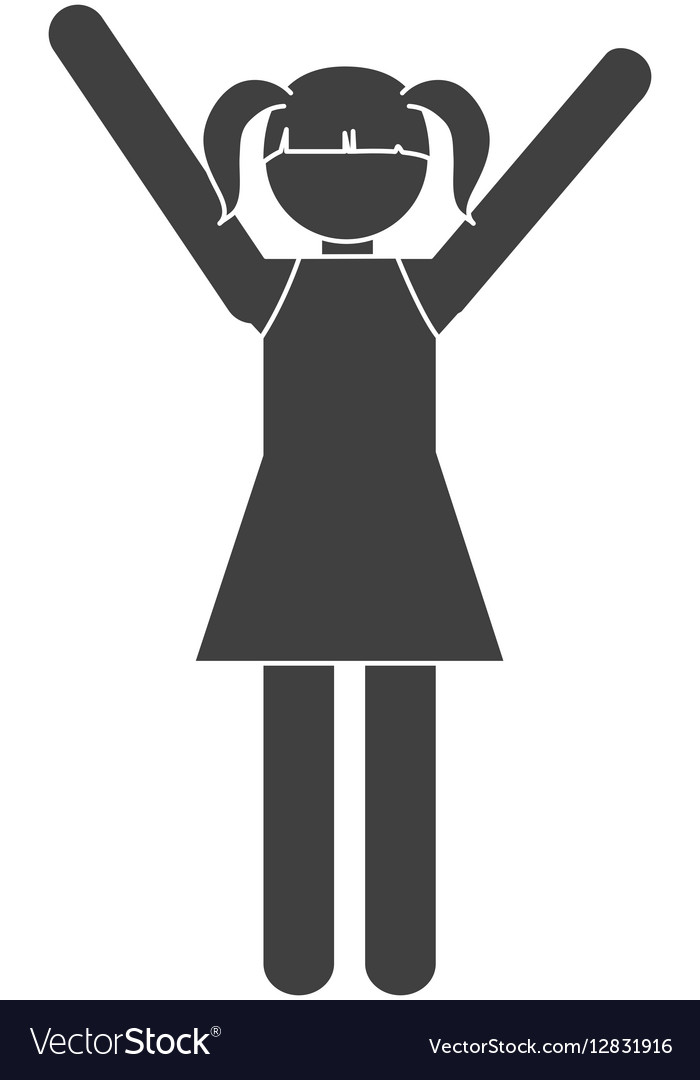 Silhouette girl daughter family vector image