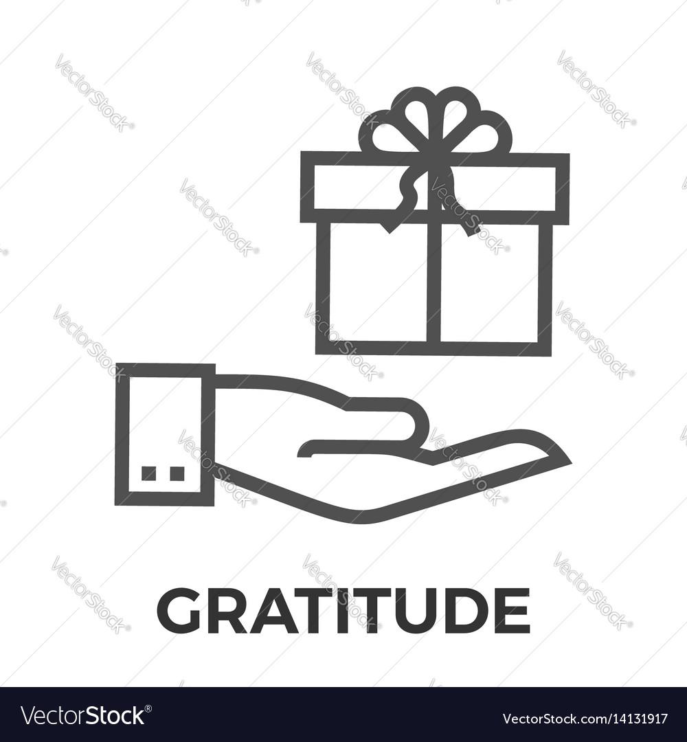 Gratitude thin line icon vector image