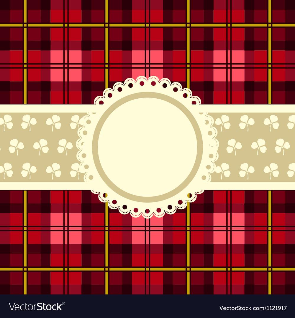 Tartan design vintage frame vector image