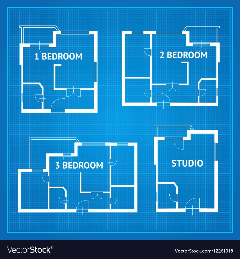 Apartment Floor Plan Set Blueprint vector image