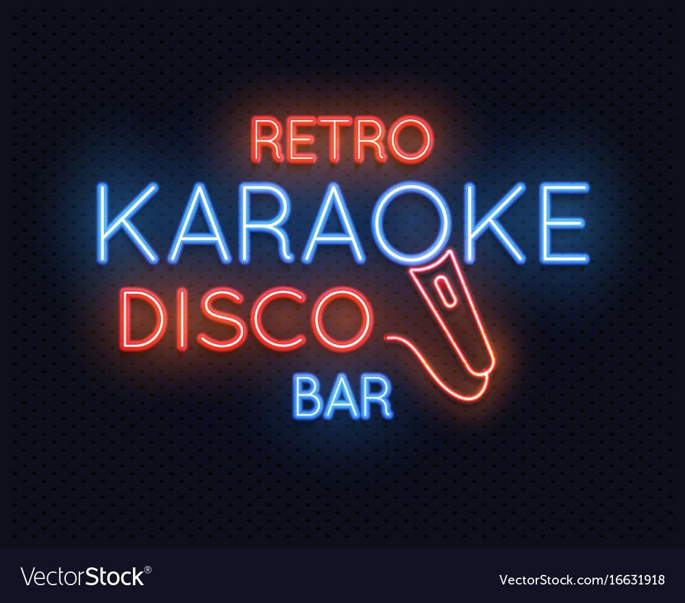 Retro disco karaoke bar neon light sign royalty free vector retro disco karaoke bar neon light sign vector image aloadofball Gallery