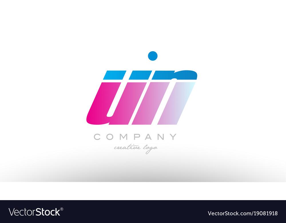 Un u n alphabet letter combination pink blue bold vector image