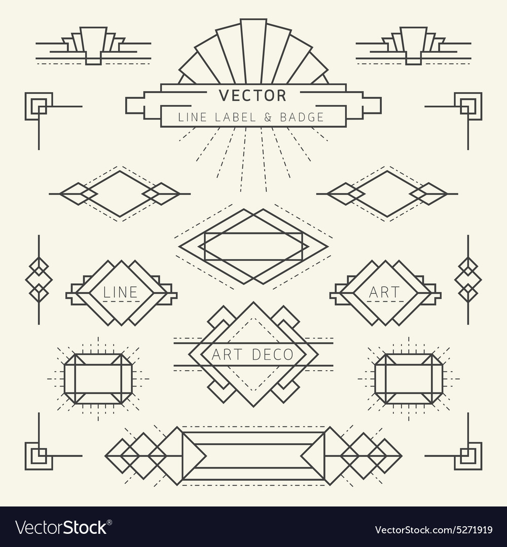 Vector Drawing Lines Questions : Art deco line royalty free vector image vectorstock