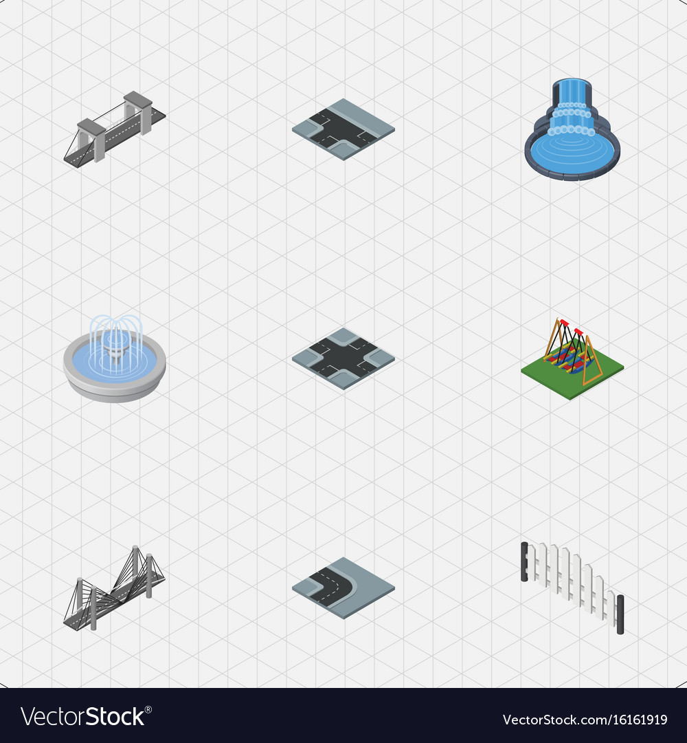 Isometric architecture set of seesaw intersection vector image