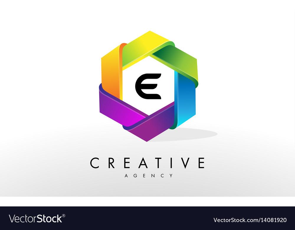 E letter logo corporate hexagon design vector image