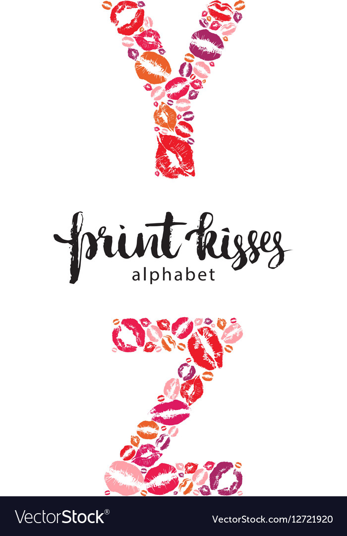 Set of letters Y and Z made from print kisses vector image